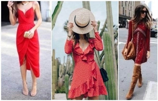 como combinar un vestido rojo casual