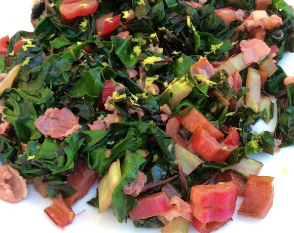 Lemony Rainbow Chard with Pancetta