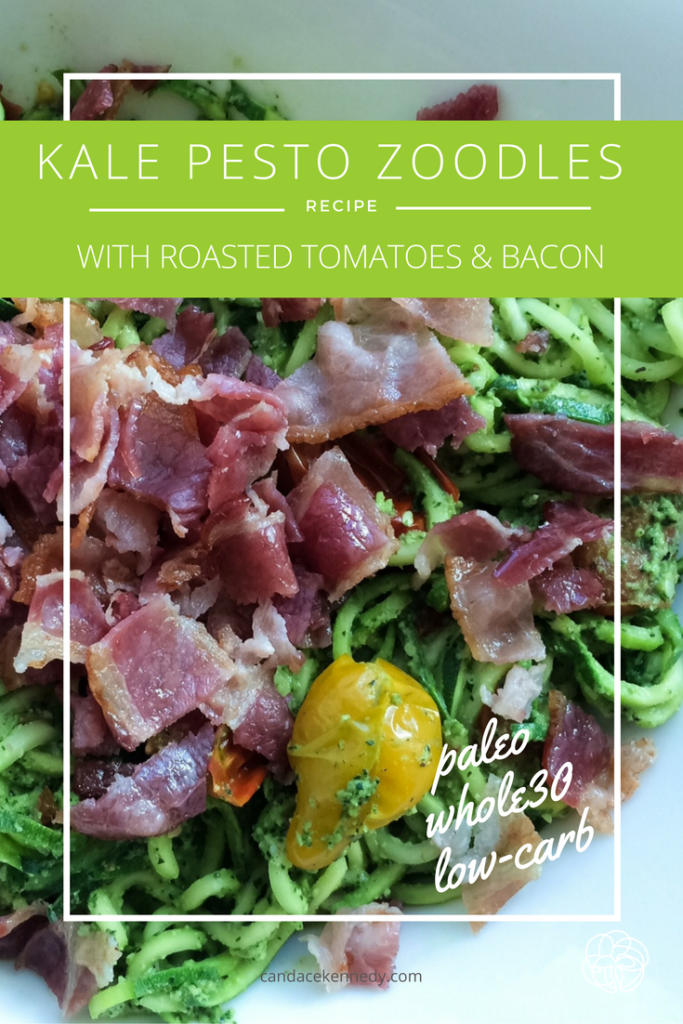 kale pesto zoodles with bacon