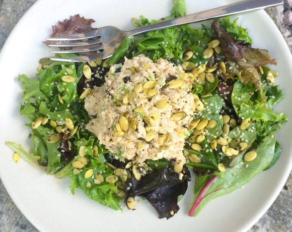 Tuna Salad Over Greens (with Seeds & Currants)