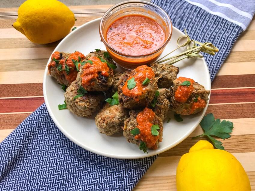 RECIPE: Lamb Meatballs with Muhammara Sauce | Paleo, Low-Carb, Whole30