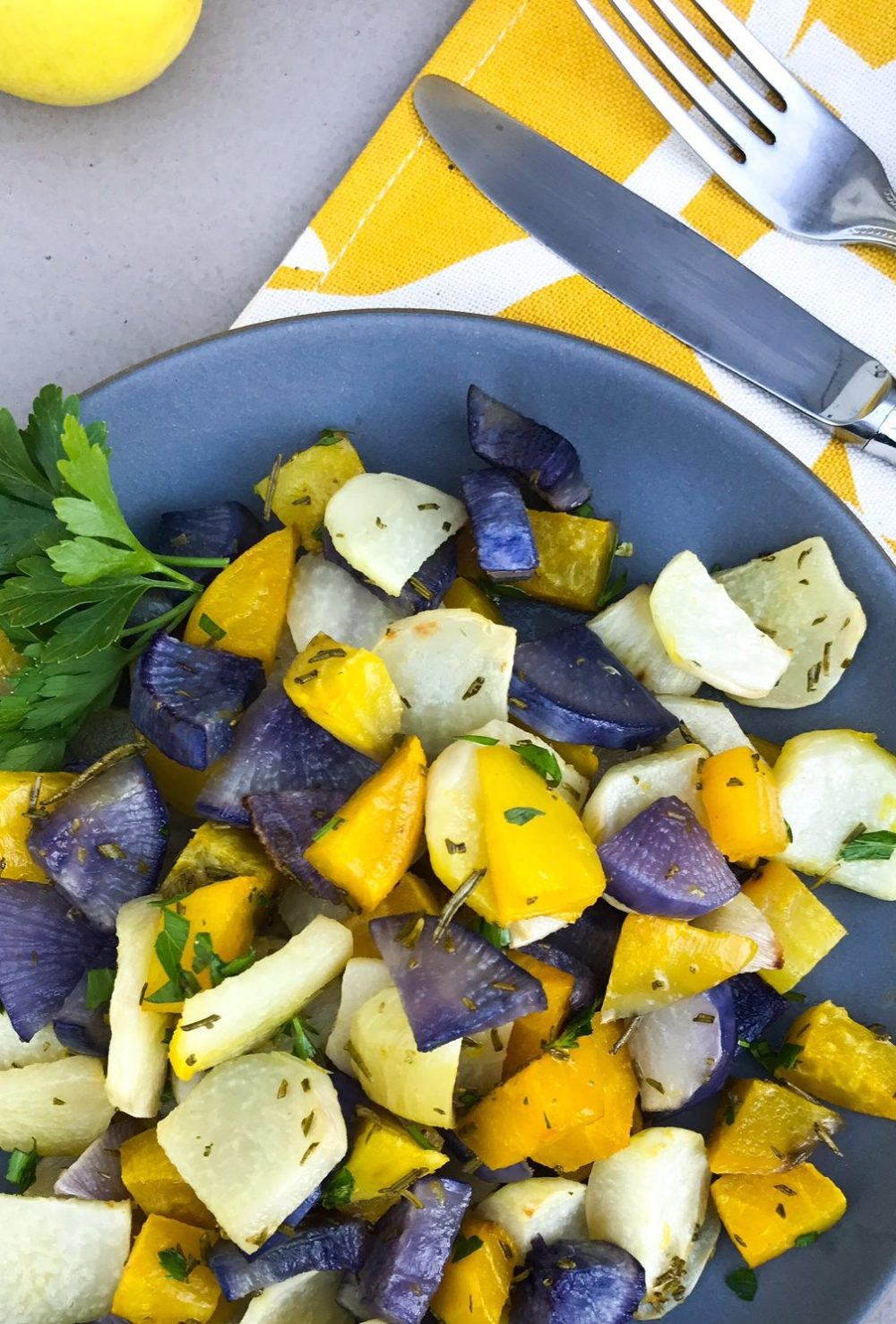 Roasted Kohlrabi and Root Vegetables | Paleo, Whole30, Plant-based