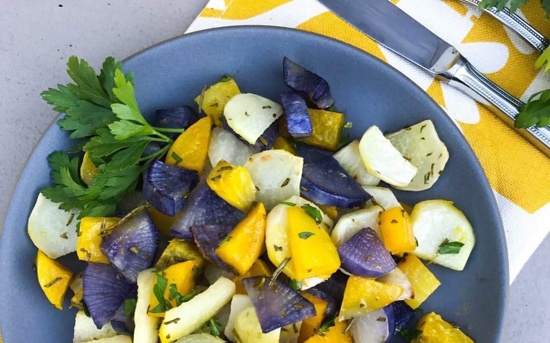 Roasted Kohlrabi and Root Vegetables