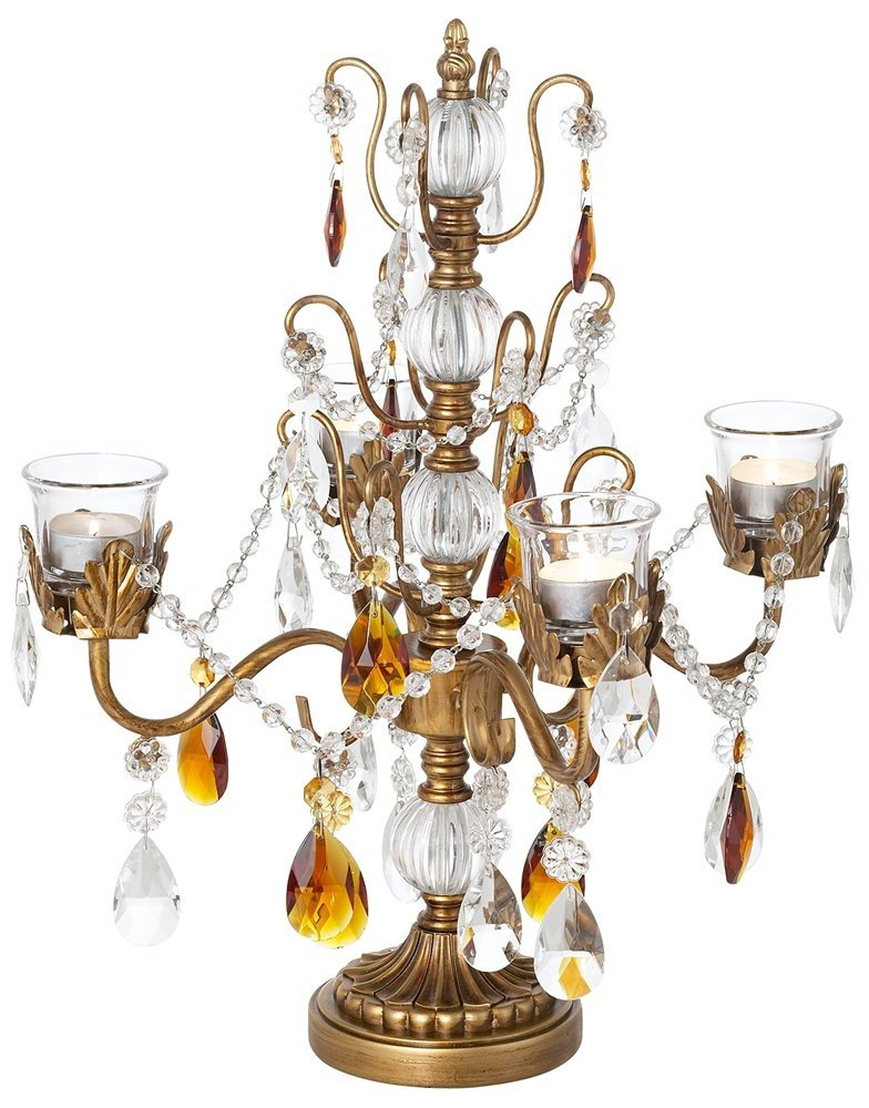 Antique Style Gold Candelabra Centerpiece with Crystals
