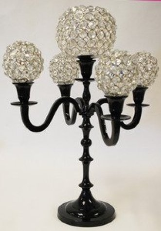 17 Inch Black Candelabra With Crystal Balls