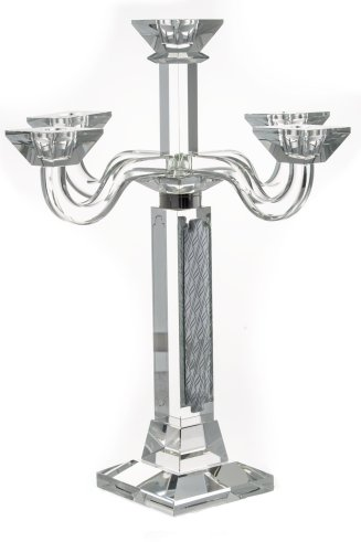 Beautiful Toll Candelabra Crystal and Sterling Silver 5 Branches
