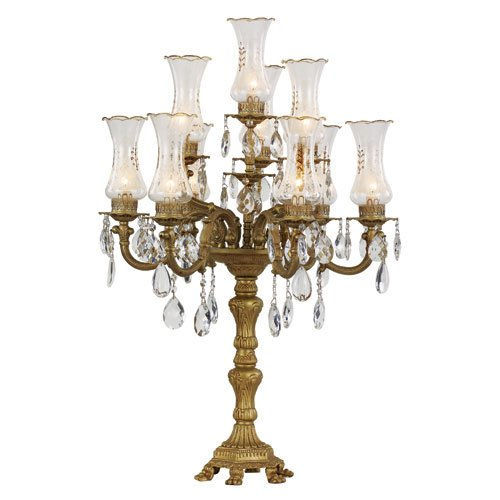 Victorian - Ten Light 3-Tier Candelabra Table Lamp, Copper Finish with Frosted Etched Glass with Clear Crystal