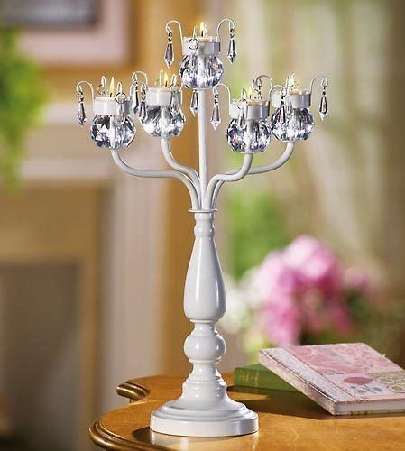 White Crystal Beaded Chandelier Candelabra Candle Holder Wedding Centerpiece