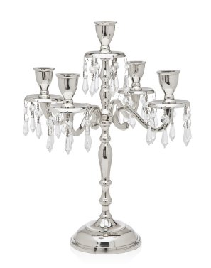 Silver Classic Nickel Plated 5 Light Candelabra With Hanging Crystal Drops