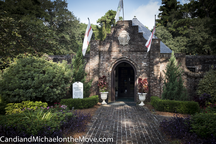 The lovely gatehouse serves as the entranceway to the gardens