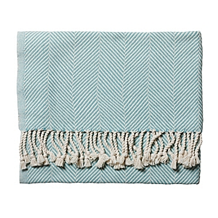 Serena & Lily Mist Herringbone Throw. SerenaandLily.com