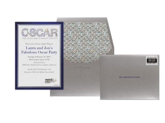 The Oscar Collection by Marc Friedland Evite Postmark invitation in Glitz Glamour Composite. Image courtesy of Marc Friedland Couture Communications.