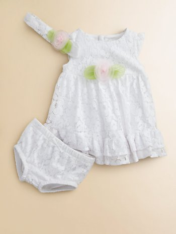 Infant's Lace Rosette Dress, Headband & Bloomers Set. Saks Fifth Avenue