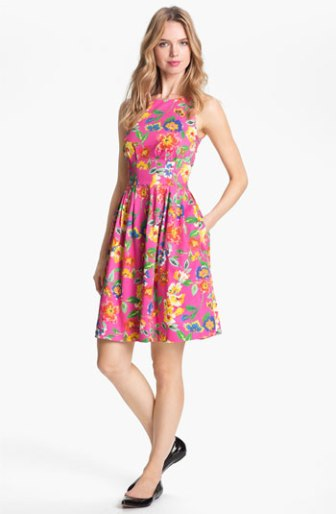 Kate Spade New York 'Sonja' Stretch Cotton Fit & Flare Floral Print Dress in Bazooka Pink. Nordstrom