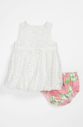 Lilly Pulitzer®  'Britta Baby' Bubble Dress & Bloomers (Infant) in Resort White Daisy Lane Lace. From 3-6 months to 18-24 months. Nordstrom Easter