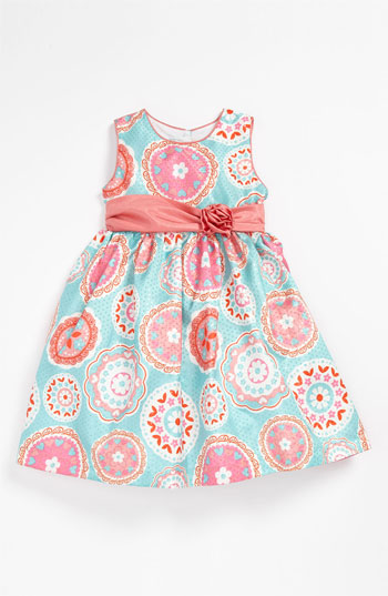 Pippa & Julie Medallion Print Dress (Toddler) in Turquoise and Coral. Nordstrom Easter
