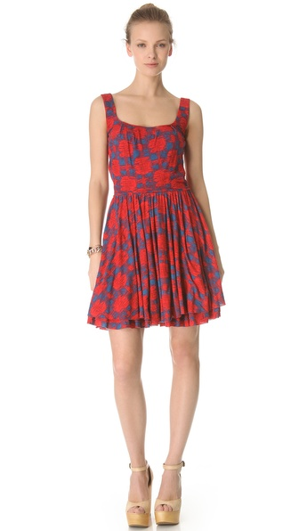 Marc by Marc Jacobs Sam Check Jersey Dress in Lipstick Red Multi. Shopbop