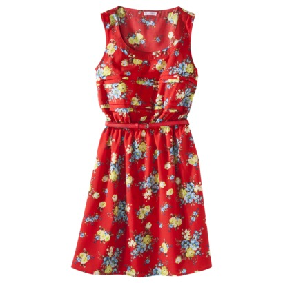 Xhilaration Juniors belted easy waist floral print dress in black/white, red or yellow/beige. Target.com