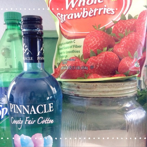 Strawberry Cotton Candy Punch Ingredients: Frozen strawberries Sprite Sugar  Cotton Candy Vodka