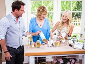 "Mark Steines and Cristina Ferrare help Sophie Uliano make her easy all natural hand soap with just three ingredients on ""Home & Family"" this week. Copyright 2014 Crown Media Family Networks/Photographer: Jeremy Lee Essential Oils Lemon Peppermint Television"