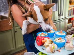 An adorable pup tries to sneak one of The Fairy Dogmother aka Laura Nativo's healthy and delicious banana and peanut butter pup-sidles.H&F Photo Credit: Copyright 2014 Crown Media Family Networks/Photographer: Jeremy Lee