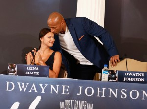 BERLIN, GERMANY - AUGUST 21: Actors Irina Shayk and Dwayne Johnson attend the press conference of Paramount Pictures 'HERCULES' at Hotel Adlon on August 21, 2014 in Berlin, Germany. (Photo by Andreas Rentz/Getty Images for Paramount Pictures)