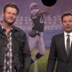 Video: CMA Nominee Blake Shelton Battles Jimmy Fallon In Random Object Football Toss on The Tonight Show!