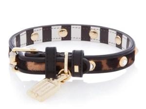 LEOPARD PRINT CRYSTAL RIVET HAIRCALF DOG COLLAR