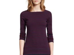 Tory Burch callan TOP in Navy/Cabernet Colorbond Stripe F