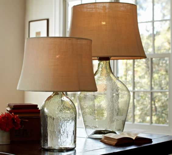 lamp base inspired by an oversized wine jug clear pottery barn. Black Bedroom Furniture Sets. Home Design Ideas