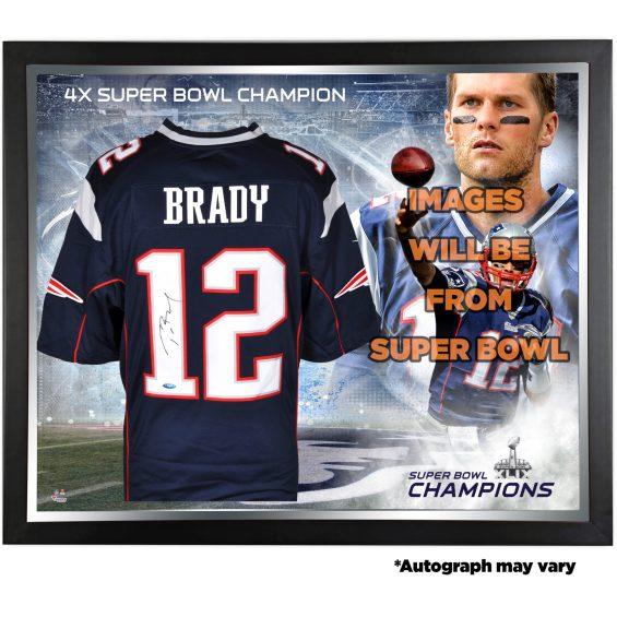 Tom Brady New England Patriots Framed Autographed Navy Nike Limited