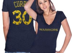 Stephen Curry Golden State Warriors Ladies Name and Number Premium Tri-Blend T-Shirt - Navy Blue