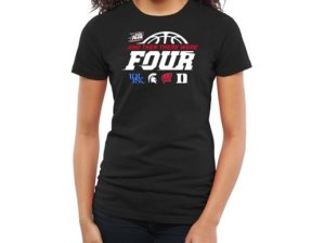 Women's Black 2015 NCAA Men's Basketball Tournament Final Four Bound And Then There Were Four: Kentucky Wildcats, Michigan State Spartans, Wisconsin Badgers and Duke Blue Devils Fitted T-Shirt