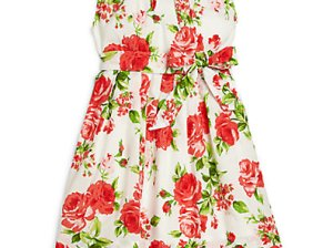 Rachel Riley Toddler's & Little Girl's Rose-Print Pleated Dress in White and Red