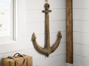 Pottery Barn WOODEN ANCHOR WALL ART