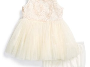Pippa & Julie Soutache Dress & Bloomers (Baby Girls) in Cream/Pink