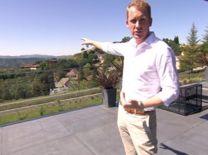 Million Dollar Listing San Francisco Season One Episode One: Andrew Greenwell dishes that the amazing terrace in this sleek Oakshire home that overlooks the entire Diablo valley is his favorite part of his listing.