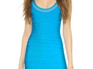 Herve Leger Hailee Dress in Bright Turquoise