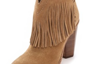 Cynthia Vincent Native Suede Fringe Booties in Tan
