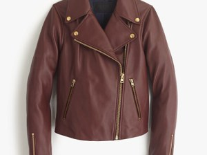 J.Crew COLLECTION LEATHER MOTORCYCLE JACKET item e1781 in Cassis
