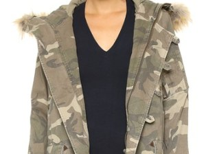 Capulet Faux Fur Hooded Parka in Green Camouflage