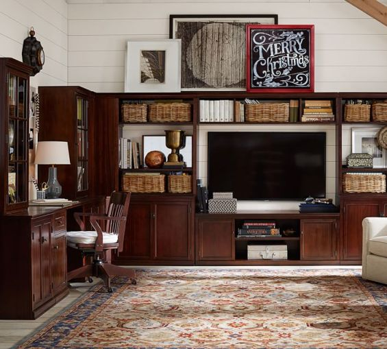 pottery barn logan office media suite