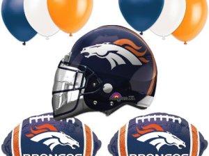 Denver Broncos Football Helmet Balloon Super Bowl Party Pack - 10pcs Denver Broncos Super Bowl 50 Party
