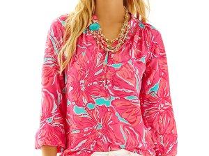Lilly Pulitzer ELSA TOP - FLIRTY in Sea Blue Flirty Sea trendy long sleeve blouses