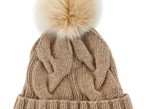 Loro Piana Cashmere Cable-Knit Beanie in Cord or Black M