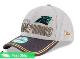 NEW ERA CAROLINA PANTHERS HEATHER GRAY/GRAPHITE 2015 NFC CONFERENCE CHAMPIONS TROPHY COLLECTION LOCKER ROOM 9FORTY ADJUSTABLE HAT
