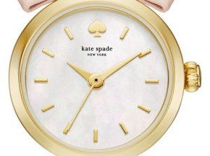 kate spade new york 'tiny metro - bow' leather strap watch, 20mm Vachetta Mother of Pearl