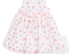Little Me Floral Print Lace Dress (Baby Girls) White Floral