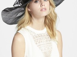 Nordstrom Sinamay Hat with Flower Black