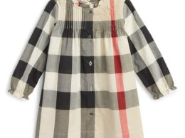 Burberry Ruffle Check Dress (Baby Girls) New Classic Nordstrom nordstrom designer clearance sale for kids